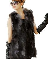 2014 New autumn winter 100% real natural fox fur vest silver fox skin medium-long vest WTP2