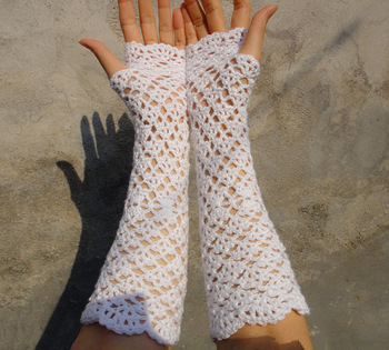 BRIDAL LACY GLOVES wedding fingerless mitens accessory crochet lace lacy oryginal and elegant white color 2pair/lot