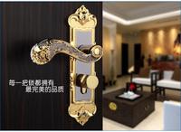 European design bedroom interior door handle lock anti-theft gold color DL14GP