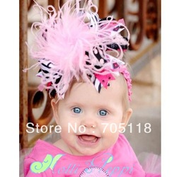 2013New Baby Feather Headband Notti 3Peppi Hairwear Zebra Flower Hairband 5pcs/lot Free shipping(China (Mainland))