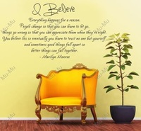 Marilyn Monroe Quote - I Believe Vinyl Wall Decal 23 Inch (Black)   vinyl lettering wall decal sticker