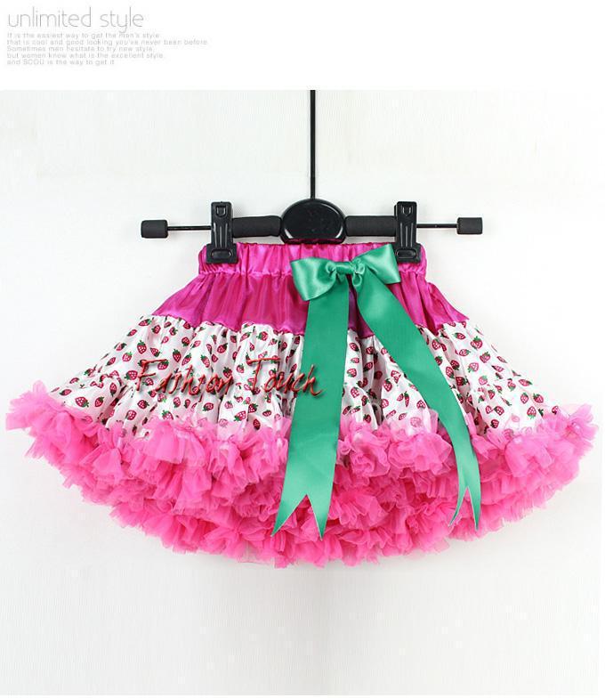 2015 Baby TuTu Dress Strawberry Pattern Print With Big Bow Kids Tutu Dress Discounts Girl Party Dress 5PCS/LOT TS30122-01^^FT(China (Mainland))