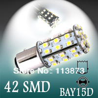 6pcs 1157 BAY15D 42 SMD Pure White Tail Turn Signal 42 LED Car Light Lamp Bulb V6 12V