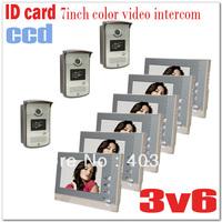"""ID Card 7"""" color video door phones/ intercom systems/door bells  ( 3 pcs CCD & Waterproof camera+6 pcs LCD) Drop shipping"""