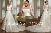 Best Design Popular A Line Royal Train Strapless Organza Beaded Bowknot Full Sleeves Arabic Bolero Wedding Dress