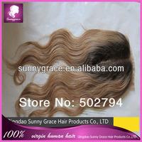 100% Virgin Durable Indian  hair  lace top closure #1B 4*4