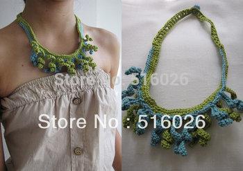vintage Crochet lace Collar Choker Necklace Wedding necklace reversible necklace fiber fringes necklace, boho chic 2 pcs/lot