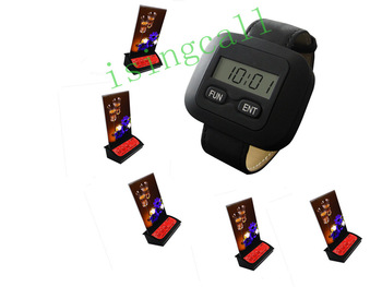 wireless table calling system for coffee shop.pub,tea shop,20pcs of table bell and 4 pcs of watch receiver