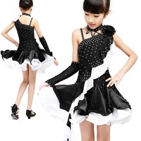 Free shipping Latin dance competition clothing costume child diamond Latin dance skirt one-piece dress fy045 dress for stage