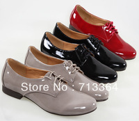 2013 new arrival good quality japanned leather glossy lacing low-heeled flat heel single shoes brockden shoes lovers