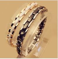 Sexy Looking Ceramic Bracelet,18K White Gold Plated Metal With Black Ceramic,Finest Ceramic Bracelet For Women   BR002