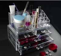 Free shipping 24x15x18.6CM Fashion Clear Acrylic Crystal Cosmetic Organizer Makeup Case Holder Storage Box Gift