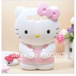 Free shipping Brand new high quality 3D Hello kitty soft Back Cover Phone Case For Samsung Galaxy S3 i9300
