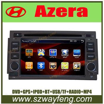 Russian Arab English Portugal Spain language menu Hyundai Azera Car dvd radio GPS Bluetooth Free Maps with 4G Cards