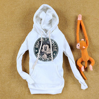 2014 new arrival,women's cartoon MICKEY thickening fleece hooded sweatshirt ,fashion hoodie,elegant leisure suite