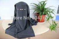 A065 Assorted colors,free shipping HIJAB LONG muslim black MASK ISLAMIC VEIL niqabs