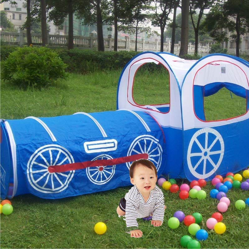 Free shipping, wholesale USD245 / 10PCS, blue train kids tent(China (Mainland))