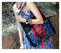 National trend embroidery canvas bag shoulder bag national bags women's handbag blue and white porcelain