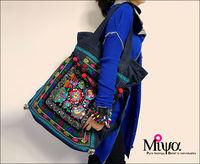 National bag blue embroidery wool bag denim bag one shoulder cross-body big bags dream camel