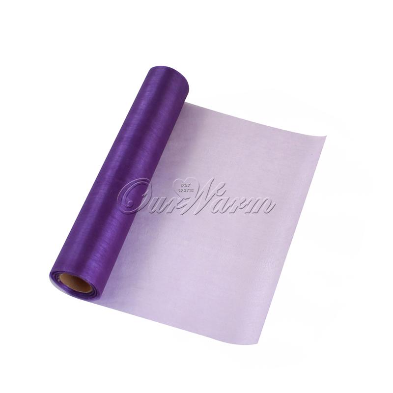 25M x 29CM Purple Organza Roll Soft Sheer DIY Fabric Wedding Party Decor Table Runner Chair Sash Bows Wholesales(China (Mainland))