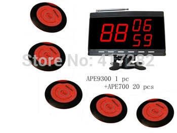 wireless table calling system,20 pcs red table bell and 1 pcs black call number display that show 3 groups of numbers.