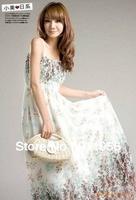 2013 Fashion bohemian joyful dots Printed Three Colors Summer Long Dress Women's Maxi Free Shipping #128