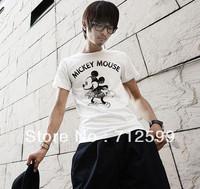 Summer new arrival male t-shirt MICKEY mouse print o-neck short-sleeve T-shirt men's clothing t-shirt basic shirt