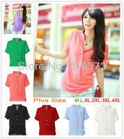 Brand fashion 4xL Candy color Korea style Chiffon 3XL Blouse top shirt T-shirt plus size xxxxl xxxl 2013 for women's female HD02