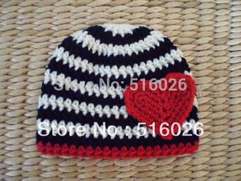 Striped Hat with Heart Boy girl winter hats crochet baby beanie hat cap,for children 6-24 months 2pcs/lot