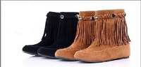 lady short thick bottom simple casual suede spring boots tassel decoration