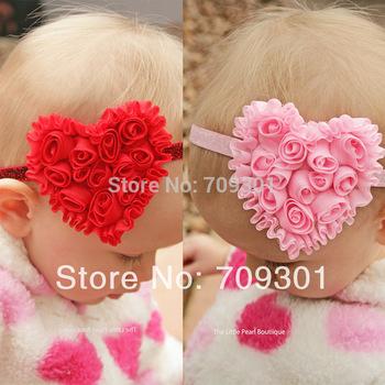 "3.5"" Chiffon Heart Headbands Heart Headbands Hot Pink Flower On 5/8 Glitter Headbands 36Pcs Free Shipping"