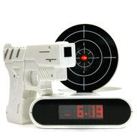 Infrared Battery Powered Gun Alarm Clock & Shooting Alarm Clock Laser Target Novelty Clock