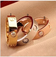 Titanium Steel brand love series spike with rhinestone wedding ring for women-new gift-Free Shipping  2013