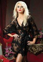 Retail-New Arrival Women Sexy Black Lace Long Lingerie Sleepwear Nightwear with G-string Plus Size Free shipping 8556