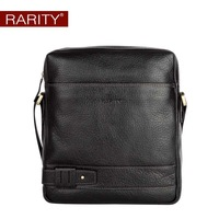 Free shipping  Brand RARITY 100% Genuine Leather shoulder messenger bag for man causal business bag black WST0011-1
