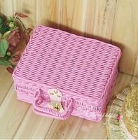 KINGART Sweet pink suitcase cosmetic box storage box jewelry box picnic basket cosmetics storage box