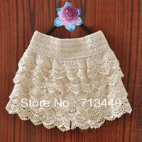 Shorts lace cutout crochet high waist short culottes female summer layered dress safety pants legging skirt shorts