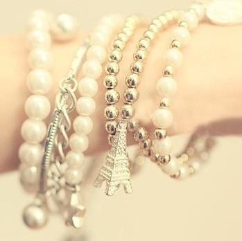 2015 New Fashion Multilayer Artificial Pearl Chain Bracelets Bangles Sets Women Ladies Rhinestone Eiffle Tower Pendants Bracelet