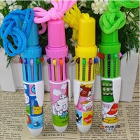 Retail cute stationery cartoon 10 colors automatic ballpoint pen with rope (KB-09)