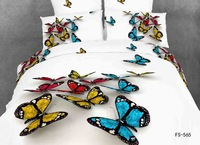 Beautiful colorful butterfly 4pcs comforter bedding set queen size 100%cotton doona duvet/quilts cover bedclothes bed sheet set