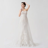 Premier Wedding 2013 Actual Pictures Strapless Sweetheart Beaded Alencon Lace Empire Waist Detachable First Layer Wedding Gown