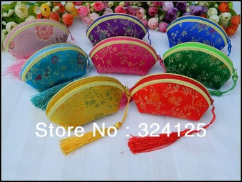 Free shipping 50pcs Chinese traditional 7.5*12*5cm  8 color silk wedding gift coin purse