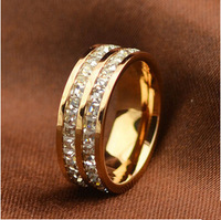 Titanium Steel brand jewelry rhinestone wedding rings for women-new gift 2013 Free Shipping R050