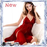 Free shipping Core women's rgxzr yarn quality tassel deep V-neck nightgown perspectivity temptation underwear sexy sleep set