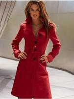 IN STOCK  2014 new women sexy wool coat medium-long design wool jacket fashion casual elegant career coat trench T086
