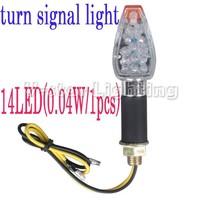 2xMotorcycle 14 LED Turn Signals Light Blinker Fasher Bike Black Clear Lens Chrome Base