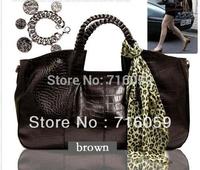FREE SHIPPING lady Crocodile Shoulder Bag vintage women hand bag leather tote bags black/brown promotion