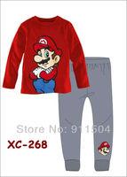 Children Long Sleeve Pyjamas Set Baby Girl's Sleepwear Clothing Baby T-shirt+pants suit 6sets/lot