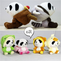 High Quanlity Panda Bear Plush Stuffed Doll Toy With Sucker Pink Yellow Green Best Birthday Present 9CM free shipping