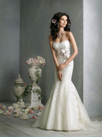 New Style Strapless Organza Embroidery And Bow Sexy Mermaid Wedding Dress 2014